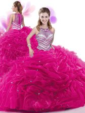 Admirable Ruffles and Pick Ups 15th Birthday Dress Fuchsia Zipper Sleeveless Court Train
