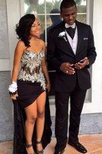 Black Chiffon Zipper Homecoming Dress Sleeveless Floor Length Beading and Hand Made Flower
