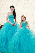 Aqua Blue Lace Up Quince Ball Gowns Beading and Ruffles Sleeveless Floor Length
