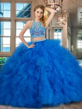 Popular Scoop Floor Length Two Pieces Sleeveless Blue Quinceanera Dresses Backless