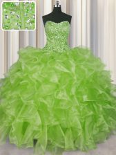 Visible Boning Beading and Ruffles Quinceanera Gown Yellow Green Lace Up Sleeveless Floor Length