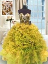 Gold Organza Lace Up Quinceanera Dresses Sleeveless Floor Length Beading and Ruffles