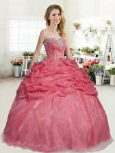 Beading and Pick Ups Quinceanera Dresses Coral Red Lace Up Sleeveless Floor Length