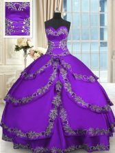 Purple Sweetheart Neckline Beading and Appliques and Ruffled Layers Sweet 16 Dresses Sleeveless Lace Up