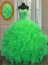 Green Sweetheart Neckline Beading and Ruffles Quinceanera Gown Sleeveless Lace Up