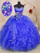Sleeveless Floor Length Beading and Ruffles Lace Up Ball Gown Prom Dress with Royal Blue