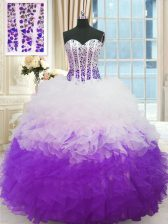 White And Purple Lace Up Quinceanera Dresses Beading and Ruffles Sleeveless Floor Length