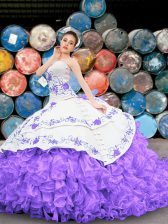 Custom Fit White And Purple Organza Lace Up Sweetheart Sleeveless Floor Length Sweet 16 Quinceanera Dress Appliques and Embroidery and Ruffles