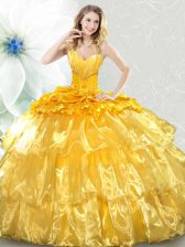 High Quality Sleeveless Ruffled Layers and Sequins Lace Up Quinceanera Gown