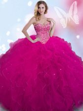 Cheap Sleeveless Tulle Floor Length Lace Up 15th Birthday Dress in Fuchsia with Beading