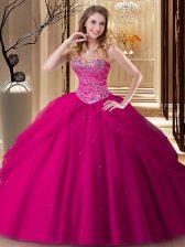 Fuchsia Tulle Lace Up Quinceanera Dress Sleeveless Floor Length Beading