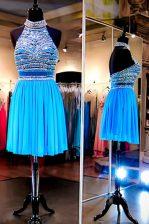 Halter Top Baby Blue A-line Beading Prom Dress Backless Tulle Sleeveless Knee Length