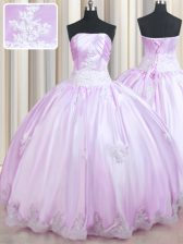 Smart Lilac Ball Gowns Beading and Appliques Quinceanera Gowns Lace Up Taffeta Sleeveless Floor Length