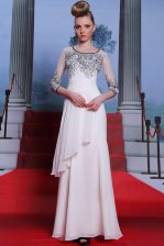 Adorable Scoop White 3 4 Length Sleeve Floor Length Beading and Appliques Zipper Prom Party Dress