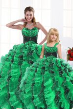Fantastic Sweetheart Sleeveless Organza 15th Birthday Dress Beading and Appliques and Ruffles Lace Up