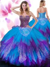 Eye-catching Multi-color Lace Up Quinceanera Gown Beading and Ruffled Layers Sleeveless Floor Length