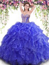 High Quality Blue Ball Gowns Sweetheart Sleeveless Organza Floor Length Lace Up Beading and Ruffles Vestidos de Quinceanera