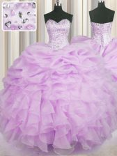 Custom Designed Ball Gowns Quince Ball Gowns Lilac Sweetheart Organza Sleeveless Floor Length Lace Up