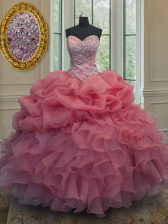 Glittering Sweetheart Sleeveless Quinceanera Gowns Floor Length Beading and Ruffles and Pick Ups Pink Organza