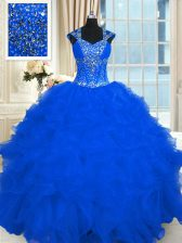 Amazing Royal Blue Ball Gowns Beading and Ruffles Sweet 16 Quinceanera Dress Lace Up Organza Cap Sleeves Floor Length