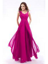 Custom Design Empire Homecoming Dress Fuchsia Straps Chiffon Sleeveless Floor Length Zipper