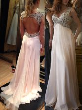Sweet Backless Prom Party Dress Pink for Prom and Party with Ruching Brush Train