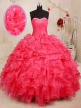 Coral Red Ball Gowns Beading and Ruffles and Sequins and Hand Made Flower Sweet 16 Dress Lace Up Organza Sleeveless Floor Length