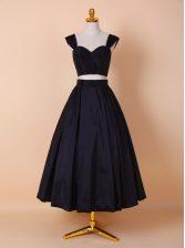 Straps Tea Length Black Prom Gown Elastic Woven Satin Sleeveless Ruching