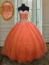 Fitting Orange Red Ball Gowns Sweetheart Sleeveless Organza Floor Length Lace Up Sequins 15 Quinceanera Dress