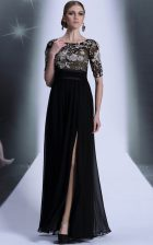 Scoop Black Half Sleeves Chiffon Zipper Prom Evening Gown for Prom and Party