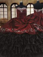 Perfect Red And Black Lace Up 15 Quinceanera Dress Beading and Embroidery and Ruffled Layers Sleeveless Floor Length