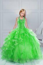 Cute Green Organza Lace Up Halter Top Sleeveless Floor Length Kids Formal Wear Beading and Ruffles