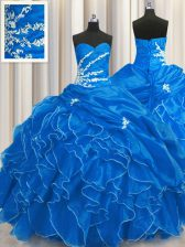 Dramatic Sweetheart Sleeveless Quinceanera Gowns Floor Length Beading and Appliques and Ruffles Blue Organza