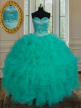 Noble Ball Gowns Quinceanera Dress Turquoise Sweetheart Organza Sleeveless Floor Length Lace Up