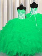 Appliques and Ruffles Sweet 16 Quinceanera Dress Turquoise Lace Up Sleeveless Floor Length