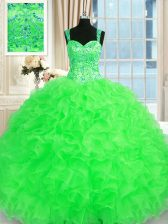 Lace Up Quinceanera Gowns Beading and Embroidery and Ruffles Sleeveless Floor Length