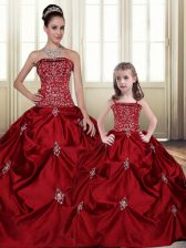 Lovely Floor Length Wine Red Quinceanera Gowns Taffeta Sleeveless Embroidery and Pick Ups