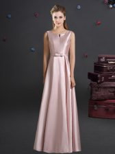 Smart Straps Sleeveless Quinceanera Dama Dress Floor Length Bowknot Pink Elastic Woven Satin