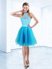 Deluxe Halter Top Aqua Blue Sleeveless Knee Length Ruching and Belt Zipper Dress for Prom