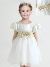 Scoop White Short Sleeves Knee Length Bowknot Zipper Flower Girl Dresses