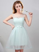 Scoop Apple Green Lace Up Dama Dress for Quinceanera Lace and Appliques and Belt Sleeveless Mini Length