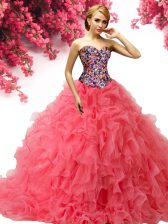 With Train Ball Gowns Sleeveless Coral Red 15th Birthday Dress Brush Train Lace Up