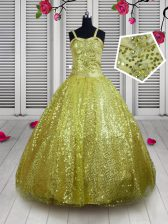Eye-catching Gold Straps Lace Up Sequins Kids Pageant Dress Sleeveless