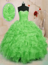 Sweetheart Lace Up Beading and Ruffles and Hand Made Flower Sweet 16 Dress Sleeveless