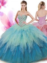 Eye-catching Ball Gowns Ball Gown Prom Dress Multi-color Sweetheart Tulle Sleeveless Floor Length Lace Up