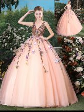 High Quality With Train Peach Quinceanera Dresses V-neck Sleeveless Brush Train Lace Up
