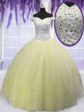 Off the Shoulder Light Yellow Lace Up Ball Gown Prom Dress Beading Short Sleeves Floor Length