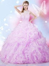 Discount Pick Ups Lilac Sleeveless Organza Lace Up Quinceanera Gowns for Military Ball and Sweet 16 and Quinceanera
