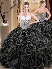 Artistic Black Organza Lace Up Ball Gown Prom Dress Sleeveless Floor Length Ruffles and Pattern