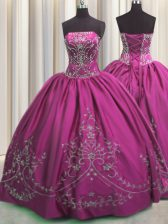 Fuchsia Quince Ball Gowns Military Ball and Sweet 16 and Quinceanera with Beading and Embroidery Strapless Sleeveless Lace Up
